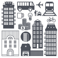 Europe street life and houses set