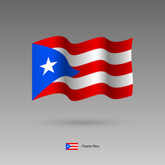 Puerto Rico flag. Official colors and proportion correctly. High detailed vector illustration. 3d and isometry. EPS10