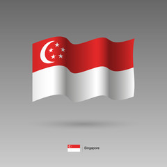 Singapore flag. Official colors and proportion correctly. High detailed vector illustration. 3d and isometry. EPS10