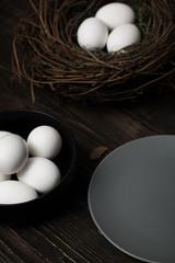Easter eggs and bird nest