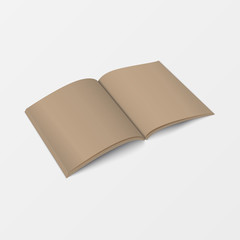 3d mockup open book template perspective view. Booklet blank white color isolated on white background for printing design, brochure template, catalog, leaflet, and layout design.  Vector illustration.