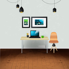 Workplace room. Vector illustration of modern office. Stylish and modern interior.