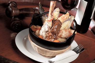 Braised lamb shank with tempura