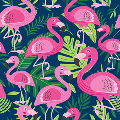 seamless pattern with flamingo - vector illustration, eps