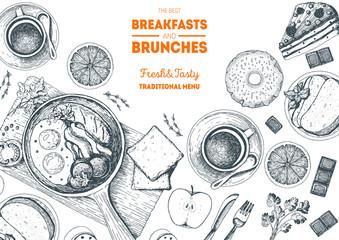 Brunch and breakfast top view frame. Food menu design. Vintage hand drawn sketch vector illustration