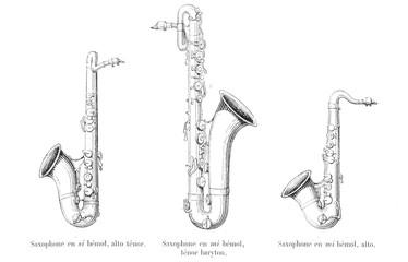 Three Saxophones. Date: late 19th century Fotobehang