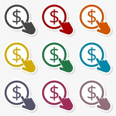 Hand Click icon. Currency exchange sign. Dollar coin