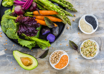 Ingredients to prepare Buddha bowl. Healthy and balanced food.
