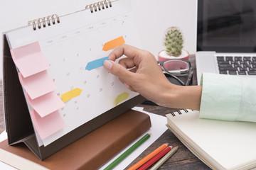 business Calender Planner meeting on desk office. organization management remind concept.