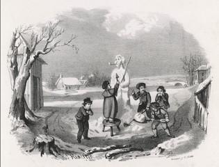 Snowman and Boys. Date: circa 1830