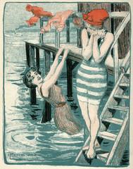 Girls Bathing. Date: 1903
