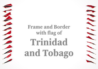 Frame and border with flag of Trinidad and Tobago. 3d illustration