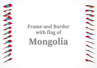 Frame and border with flag of Mongolia. 3d illustration