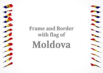 Frame and border with flag of Moldova. 3d illustration