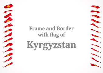 Frame and border with flag of Kyrgyzstan. 3d illustration