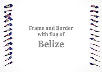 Frame and border with flag of Belize. 3d illustration