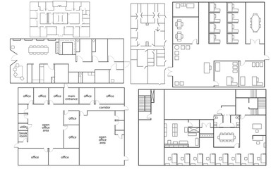 Collection of isolated office florrplans in different styles
