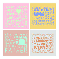 Vector set of greeting card of fathers day on white background