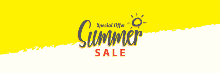 Summer Sale heading design for banner or poster. Sale and Discounts Concept. Vector illustration.