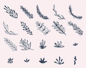 Vector icon set of leaves against colored background