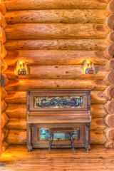 Player Piano in a Log Cabin