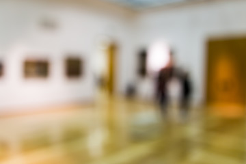 Bokeh in the museum of paintings as a background