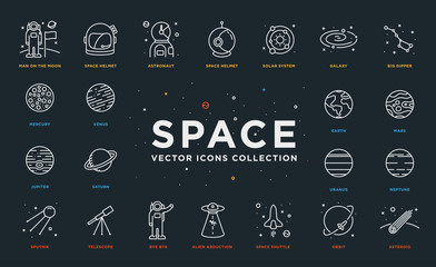 Set of Thin Line Stroke Vector Astronomy and Space Icons. Spaceman, astronaut, helmet, solar system, galaxy, planet, earth, mars, satellite, alien abduction, shuttle, rocket, orbit, asteroid