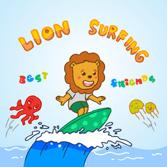 little lion surfing in the sea. vector cartoon illustration