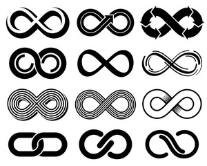 Infinity vector symbols. Mobius loop icons