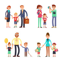 Kids and parents in happy family. Mom, dad and children vector flat characters set