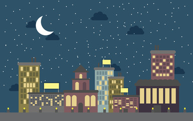 Concept of Cute Night city with isolated objects
