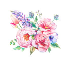 Watercolor flowers bouquet. Hand painted botanical illustration with roses, peony, marigold, lupine, tulips, wild herbs isolated on white background. Floral artwork
