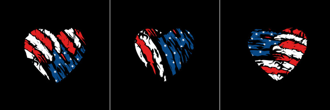 American flag in heart vector