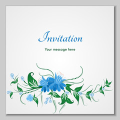 Greeting card with stylized flower bells, can be used as invitation card for wedding, birthday and other holiday and summer background. Slavic folk style.