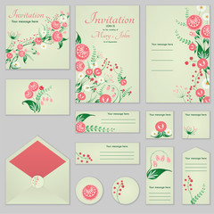 Collection Greeting cards with stylized roses and wild flowers, can be used as invitation card for wedding, birthday and other holiday and summer background.Slavic folk style. Floral collection