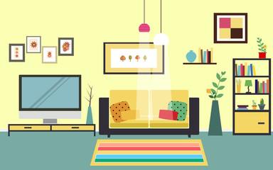 Concept of living room vector for your ideas