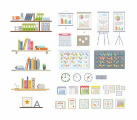 Office Essentials - modern vector flat icons set