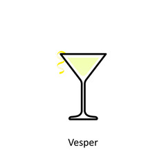 Vesper cocktail icon in flat style