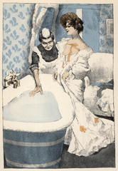 Bathing - Maid Runs Bath. Date: 1908