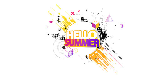 Abstract Summer Decorative Greeting Background Vector Illustration on White.