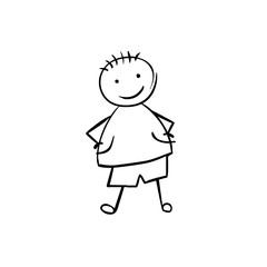 Boy. Man in children's style. Linear black on white