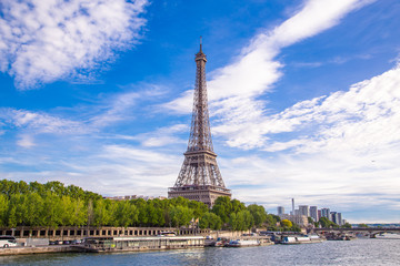 Summer view of Paris with Eiffel tower