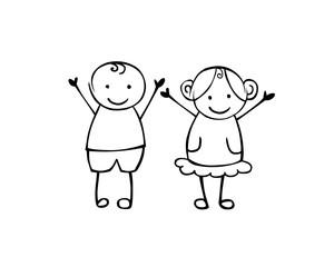 Boy and girl. Vector couple