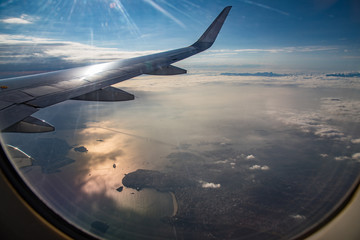 View of the city of Rio de Janeiro from the window of a plane