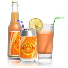 Aranciata, bicchiere bottiglia lattina..Bevanda rinfrescante isolata su sfondo bianco..