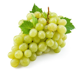 Green grape isolated. Grape with leaves on white. With clipping path. Full depth of field.