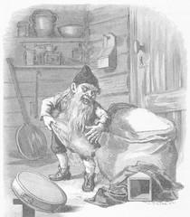Swedish Nisse stealing flour. Date: 1882