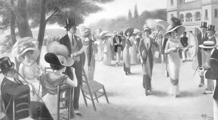 Mannequins at Races. Date: 1910