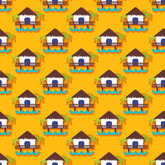 Summer vector seamless pattern with bungalow