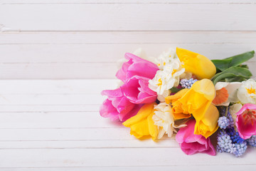 Pink, yellow, white  and blue spring tulips  and daffodils flowers on  white wooden background.